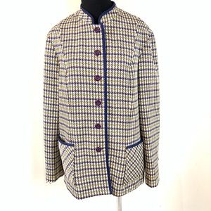 VTG 1960s PLAID BUTTON DOWN BLAZER MOD SIZE MEDIUM